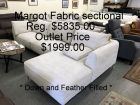 Chateau D'ax Margot Sectional light tan down and feather Filled -