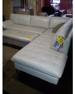 Chateau D'ax Coriscapa 2pc Leather Sectional Oyster