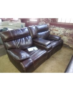 "81"" Leather  All Loveseat with 2 Power Recliners, Power Headrests and Console with USB Power Outlet $999"
