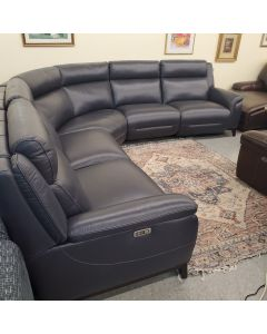Simon Li Navy Blue reclining 6 Piece All Leather Sectional