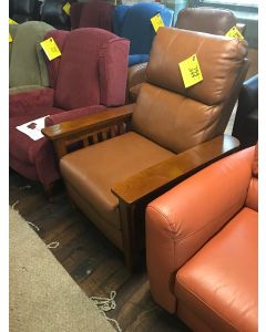 A Harris Leather Pushback Recliner Color : Nutmeg