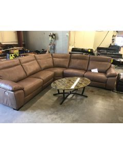 Gen 5-pc Leather Sectional Sofa with 3 Power Recliners with Power Headrest