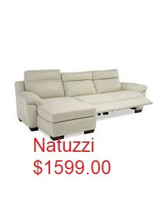Natuzzi Julie 3-pc Leather Sectional Sofa with Chaise with 1 Power Recliner