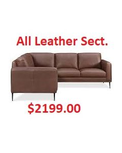 Maida Leather 3pc. Sectional Brown or Gray instock