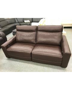 "Marza 60"" Leather Loveseat with 2 Power Recliners,  Brown"