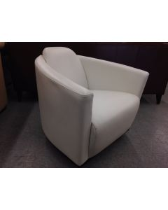 Hotel by Nicoletti Italian White Leather Swivel Base