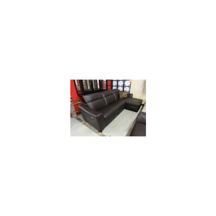Alessandro 3-Pc Leather Sectional Sofa With Chaise With 1 Power Recliner  With Articulating Headrest