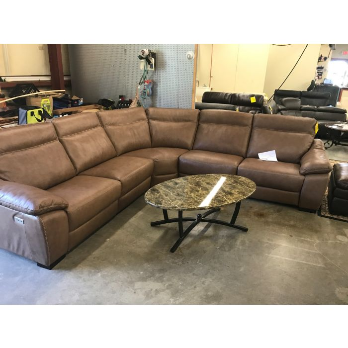 Gennaro 5 Pc Leather Sectional Sofa With 3 Power Recliners With Power  Headrest,