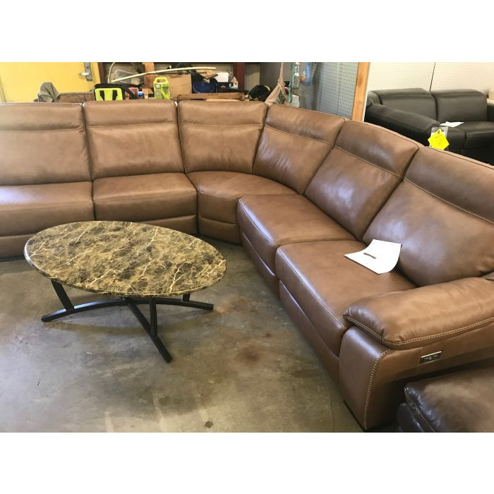 Gennaro 5-pc Leather Sectional Sofa with 3 Power Recliners with ...