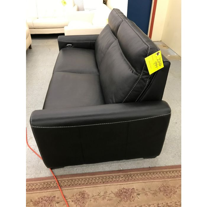 Marza Black Leather Sofa with Power Recline