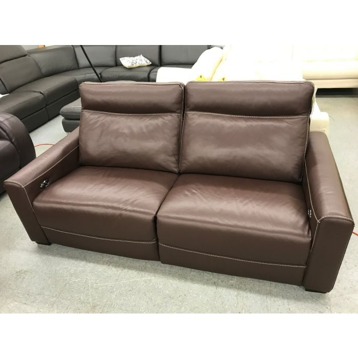 Marza Brown Leather Sofa Power Recline