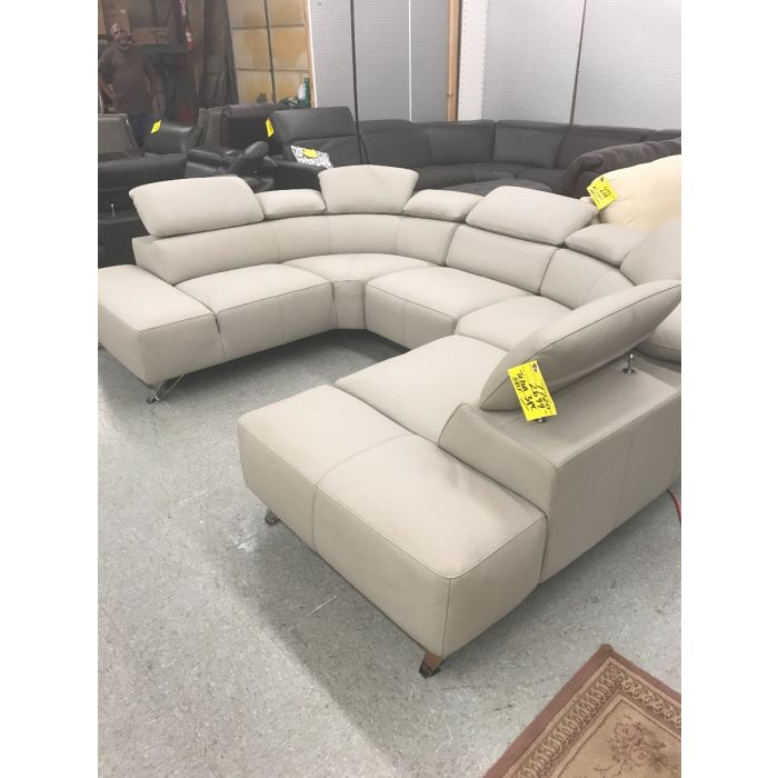 High-end Italian Mfg. 3 pc. Leather Sectional Sofa / Color : Dovegray