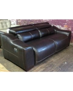 "Ruthin 92 "" power leather reclining stallion Dark brown sofa"