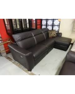 Alessandra 3-Pc Leather Sectional Sofa With Chaise With 1 Power Recliner With Articulating Headrest
