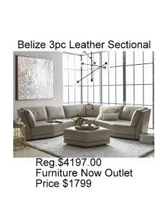 Belize 3pc leather sectional light gray