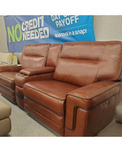 Cognac All leather double reclining sofa with power headrest and USB