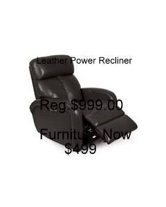 Crissy Gray  Leather Power Recliner with Power Headrest and USB Power Outlet