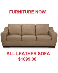 """Hans Contemporary style. 91"""" Leather Sofa - Colors Tan"""