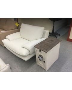 Contemporary cream oversized Italian chair and ottoman