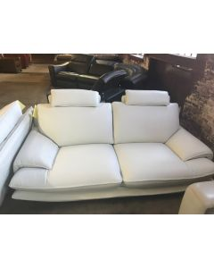 White Italian Leather Sofa with Adjustable Headrest