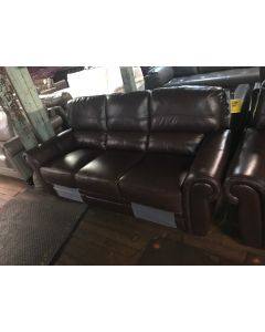 Brown Leather Power Recline Sofa