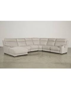 Natuzzi Julie 6-Piece Leather Sectional with Chaise & 2 Power Recliners