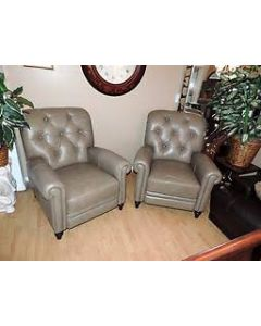 Stewart Brandy Leather Recliner - Marble - Taupe
